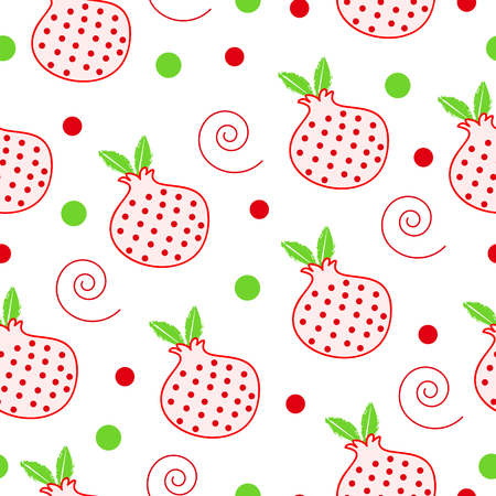 seamless pattern with Christmas pomegranate - Christmas vector illustration Illustration