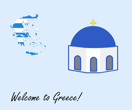 welcome to greece vector card - greek map and blue chapel illustration Ilustrace