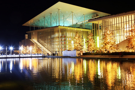 ATHENS GREECE, DECEMBER 16 2017: night photography of Stavros Niarchos foundation decorated with Christmas lights. Editorial use. Editorial