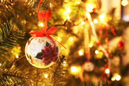 christmas ornaments on the tree with bokeh lights background stock photo 92599238