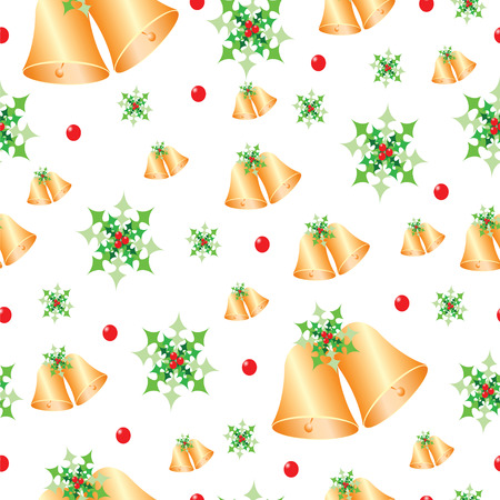 seamless pattern with Christmas bells and mistletoe