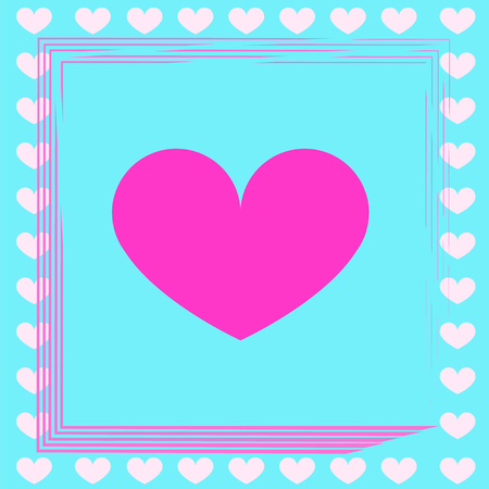 Valentines day card with pink hearts - love card vector