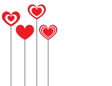 valentines day card with red hearts vector