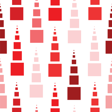 Seamless pattern of red squares in different sizes