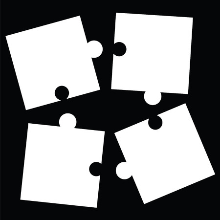 Separate white puzzle pieces on black background Vectores