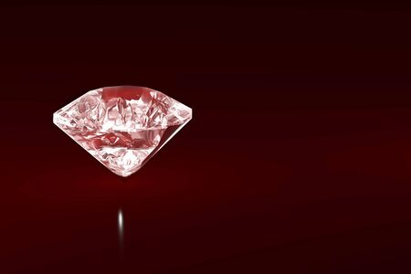 3D pink diamond illustration isolated on dark red background