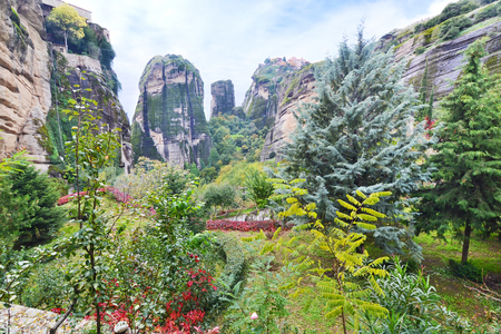landscape of the huge rocks Meteora Thessaly Greece - Orthodox religious places Stock Photo