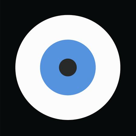 blue evil eye vector on black background