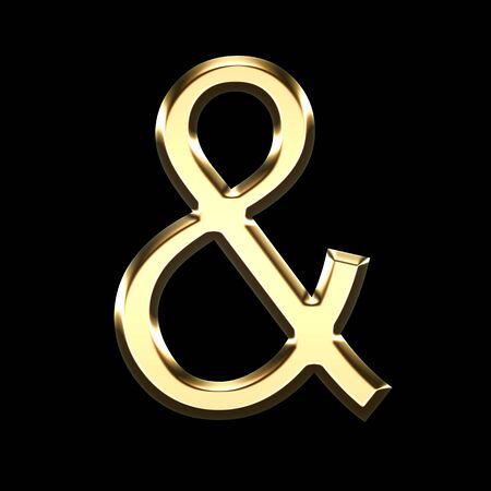 golden 3d symbol representing the word and isolated on black background - 3d render illustration