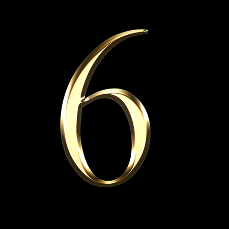 gold number six 3D illustration isolated on black background