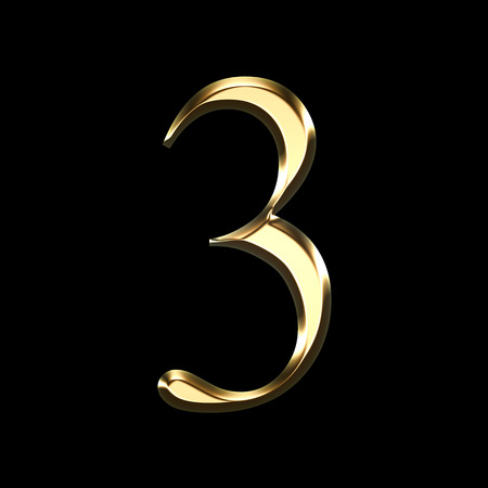 gold number three 3D illustration isolated on black background
