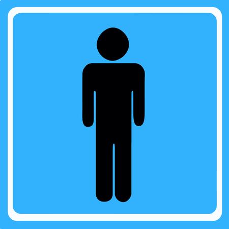 black silhouette man figure vector - wc toilet icon - blue background