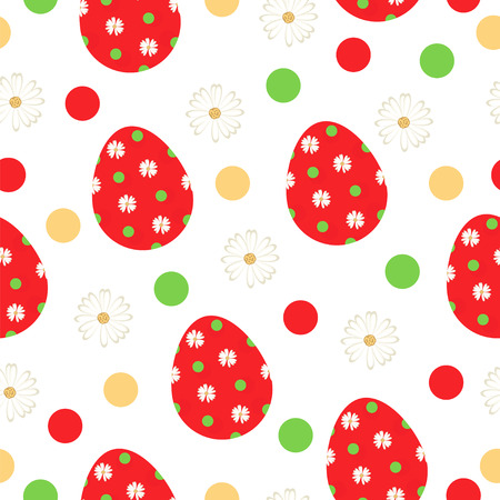 seamless pattern with red Easter eggs and daisy flowers vector