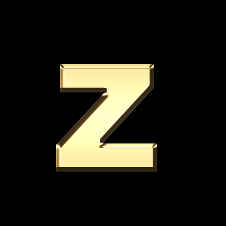 golden english letter z on black background - letters illustration