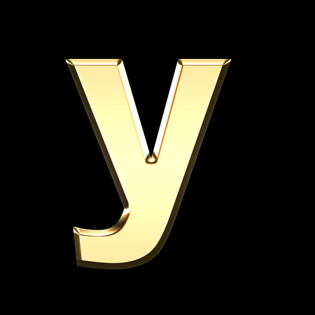 golden english letter y on black background - letters illustration
