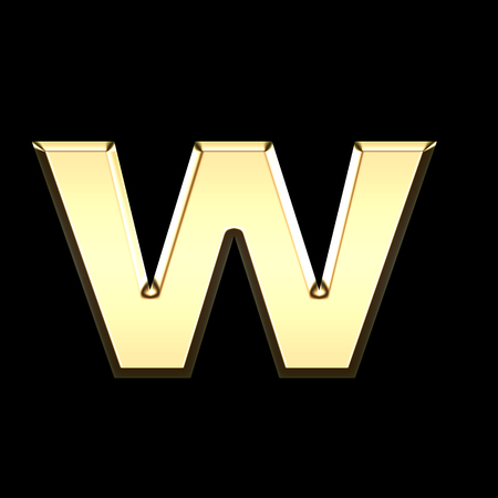 golden english letter w on black background - letters illustration Stock Photo