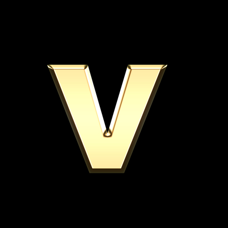 golden english letter v on black background - letters illustration
