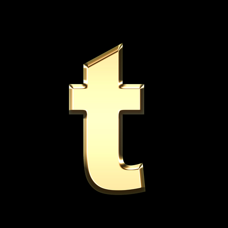golden english letter t on black background - letters illustration