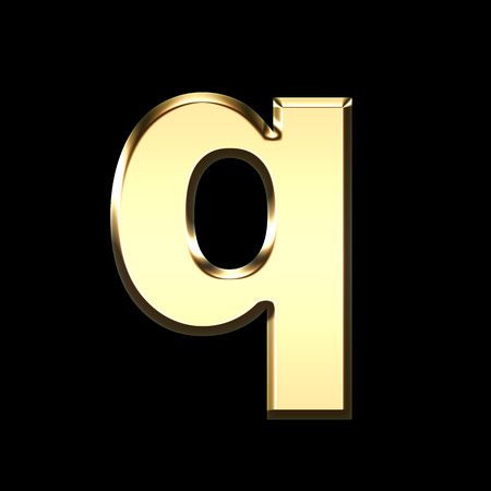 golden english letter q on black background - letters illustration
