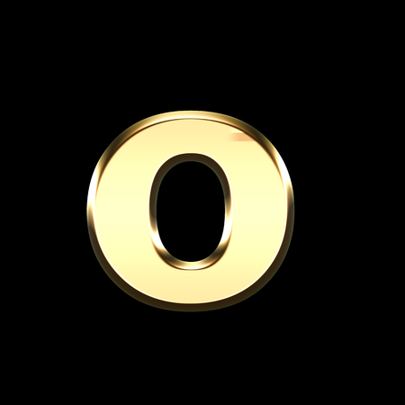 golden english letter o on black background - letters illustration