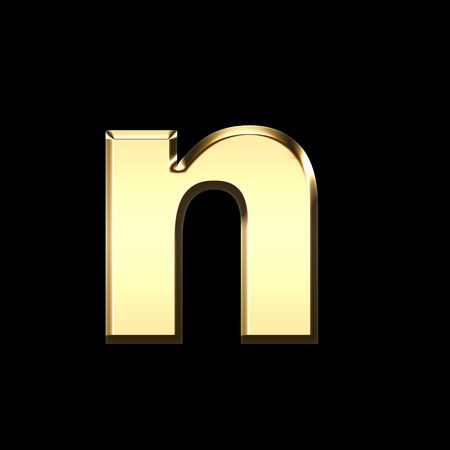 golden english letter n on black background - letters illustration