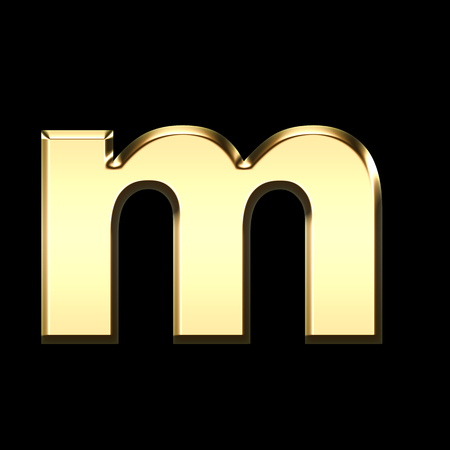 golden english letter m on black background - letters illustration