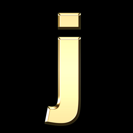 golden english letter j on black background - letters illustration Stock Photo