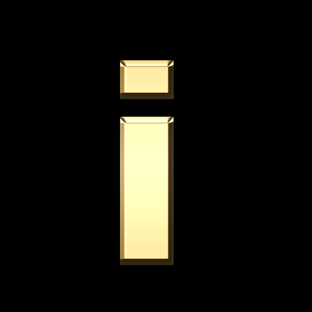 golden english letter i on black background - letters illustration