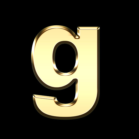 golden english letter g on black background - letters illustration