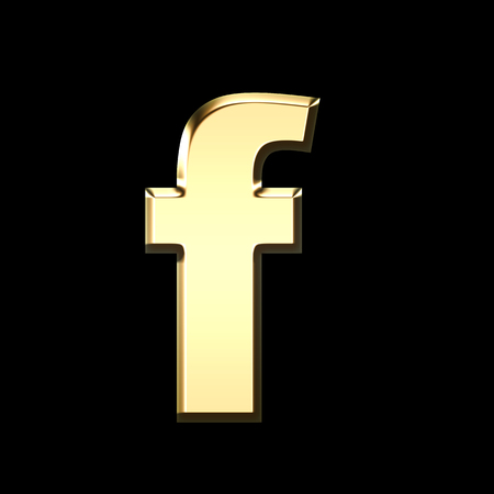 golden english letter f on black background - letters illustration Stock Photo