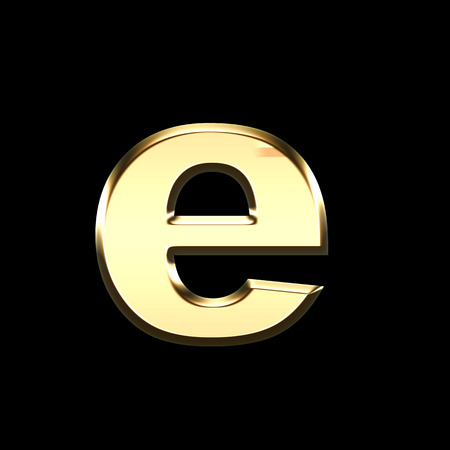 golden english letter e on black background - letters illustration