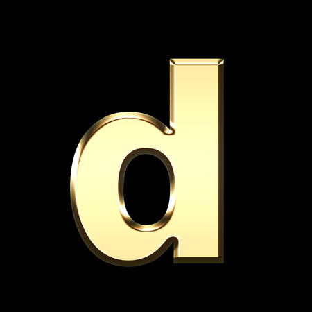 golden english letter d on black background - letters illustration