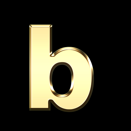 golden english letter b on black background - letters illustration