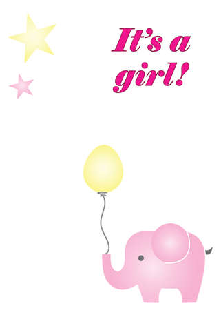 Its a girl vector card with blue elephant holding a balloon. Illustration