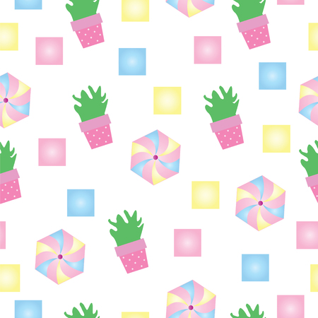 Cactus and colorful shapes vector seamless pattern.