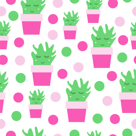 Smiling cactus vector and polka dots seamless pattern. Illustration