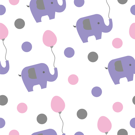 Elephants and balloons seamless pattern.
