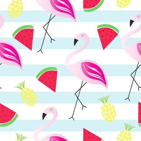 Summer texture seamless pattern with flamingo, watermelon and pineapple vector.