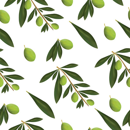 Green olive tree leaves and olives seamless pattern.