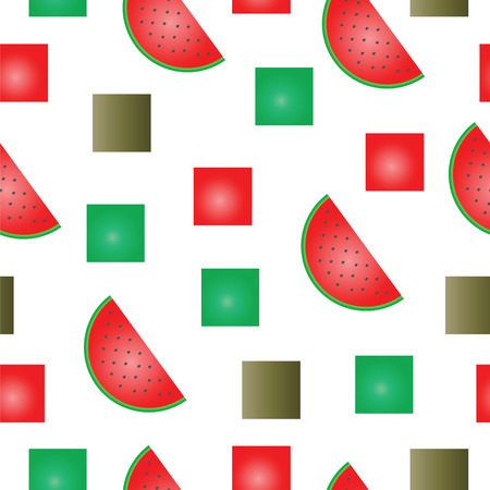 Watermelon slices and squares summer texture illustration seamless pattern.