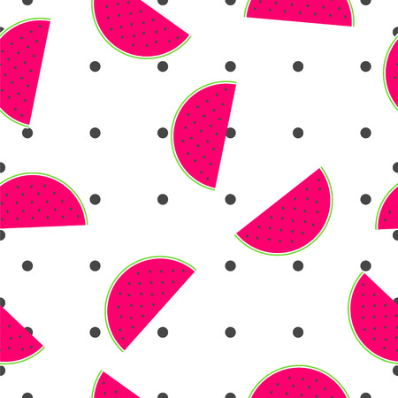 Watermelon slices and polka dots summer texture illustration seamless pattern.