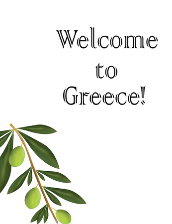 Welcome to Greece card with olive tree vector.