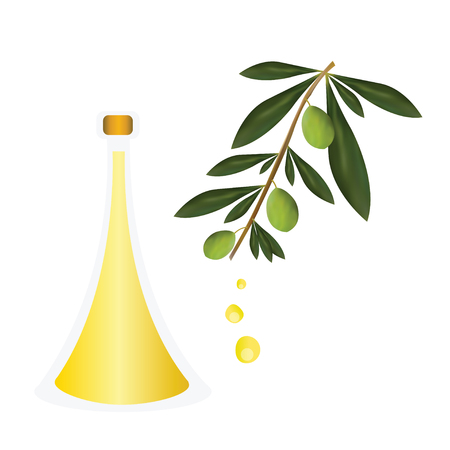 bottle with olive oil vector - greek olive oil advertisement