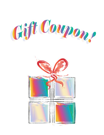 Gift coupon  with colorful gift box illustration - business discount concept