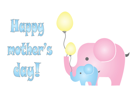 happy mothers day card with elephants vector Illustration