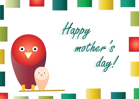 Happy mothers day with birds cartoon vector Illustration