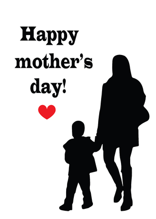 Happy mothers day card - black silhouette mother and child