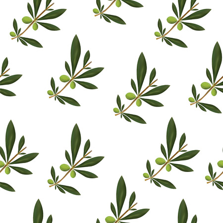 seamless pattern with green olive tree leaves and olives Illustration
