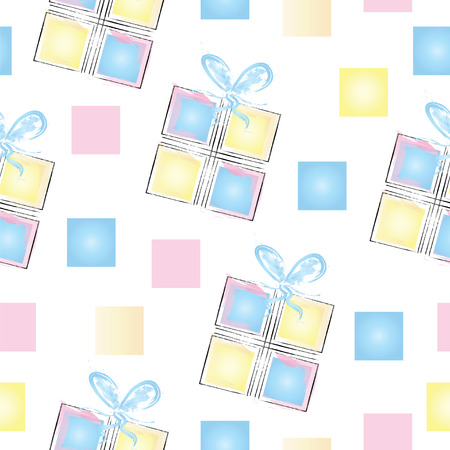 seamless pattern with gift boxes in pastel colors and squares Illustration