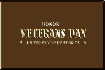 american veterans day illustration - golden 3d illustration - brown background